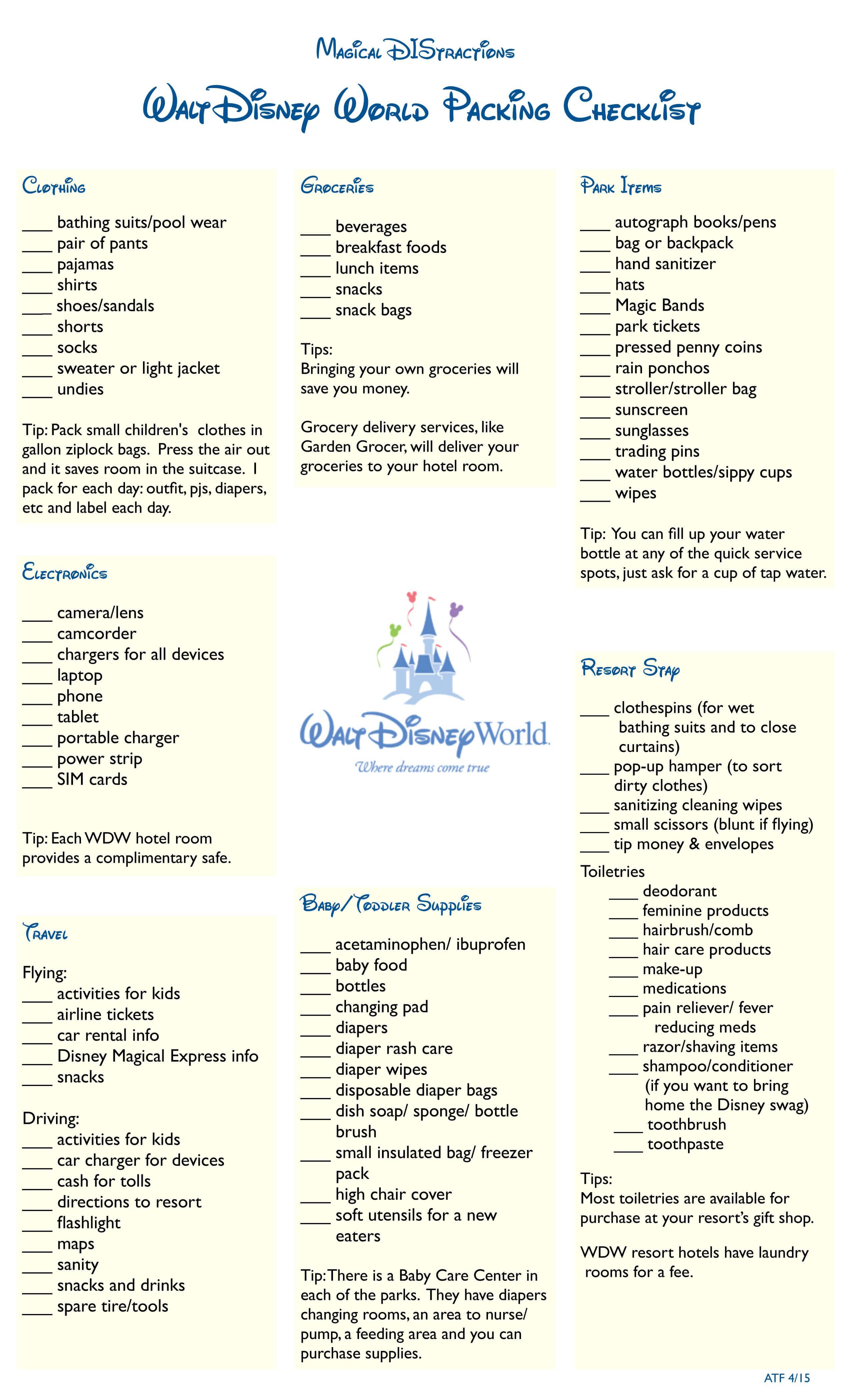 Walt Disney World Packing Checklist