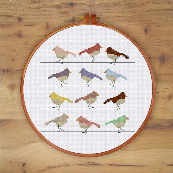 Birds in Lines cross stitch pattern modern cross by ThuHaDesign