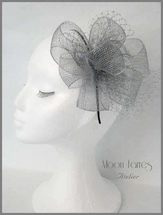 Alwine+Derby+chapeau+/+chapeau+bibi+/+argent+par+MoonFarresAtelier,+$105.00