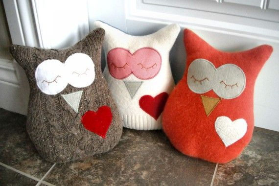 Owl Pillow Plush Recycled Wool Tan by PinkBunnyPatterns on Etsy