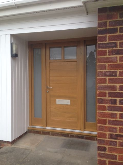 Light Oak Composite Front Door Part - 28: Timber Contemporary Door Is In A Norvys Style And The Side Panels Is In A  Gwedrenn Style. The Colour Is Light Oak And The Glass Is Sandblasted With  The U0027 ...