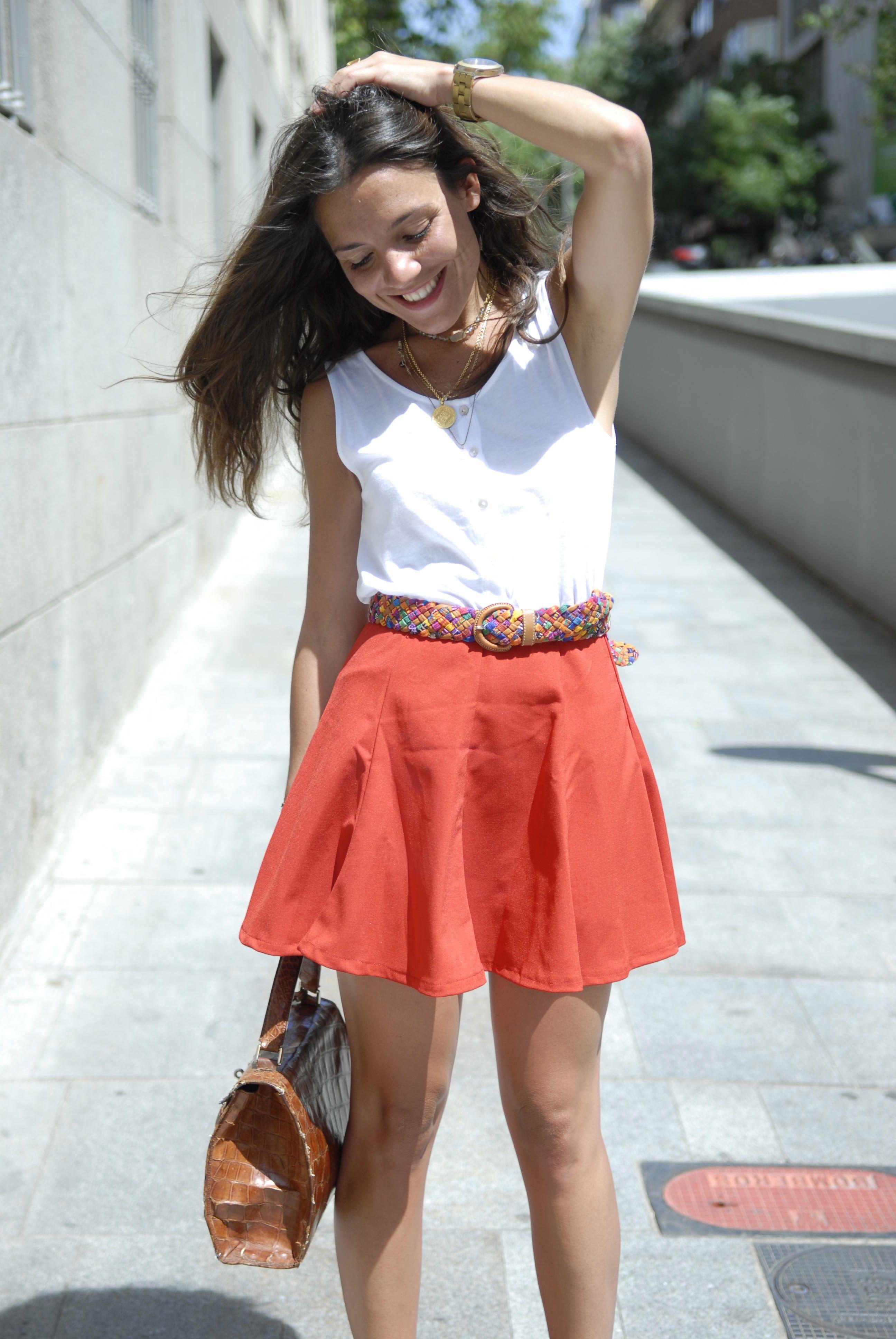 red skirt and basic tee - PEEPTOES