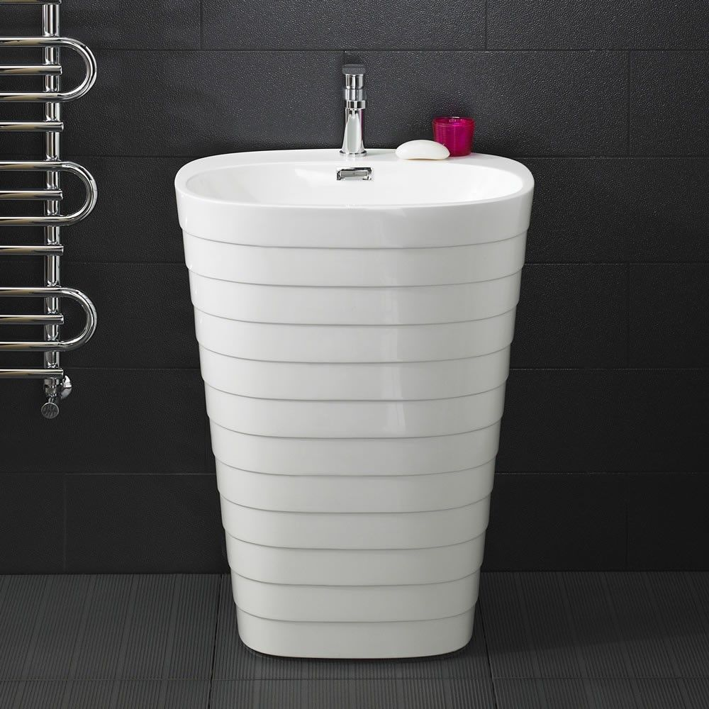 the hive pedestal sink features unique tiered styling and a tapered design making it a great option for creating a look
