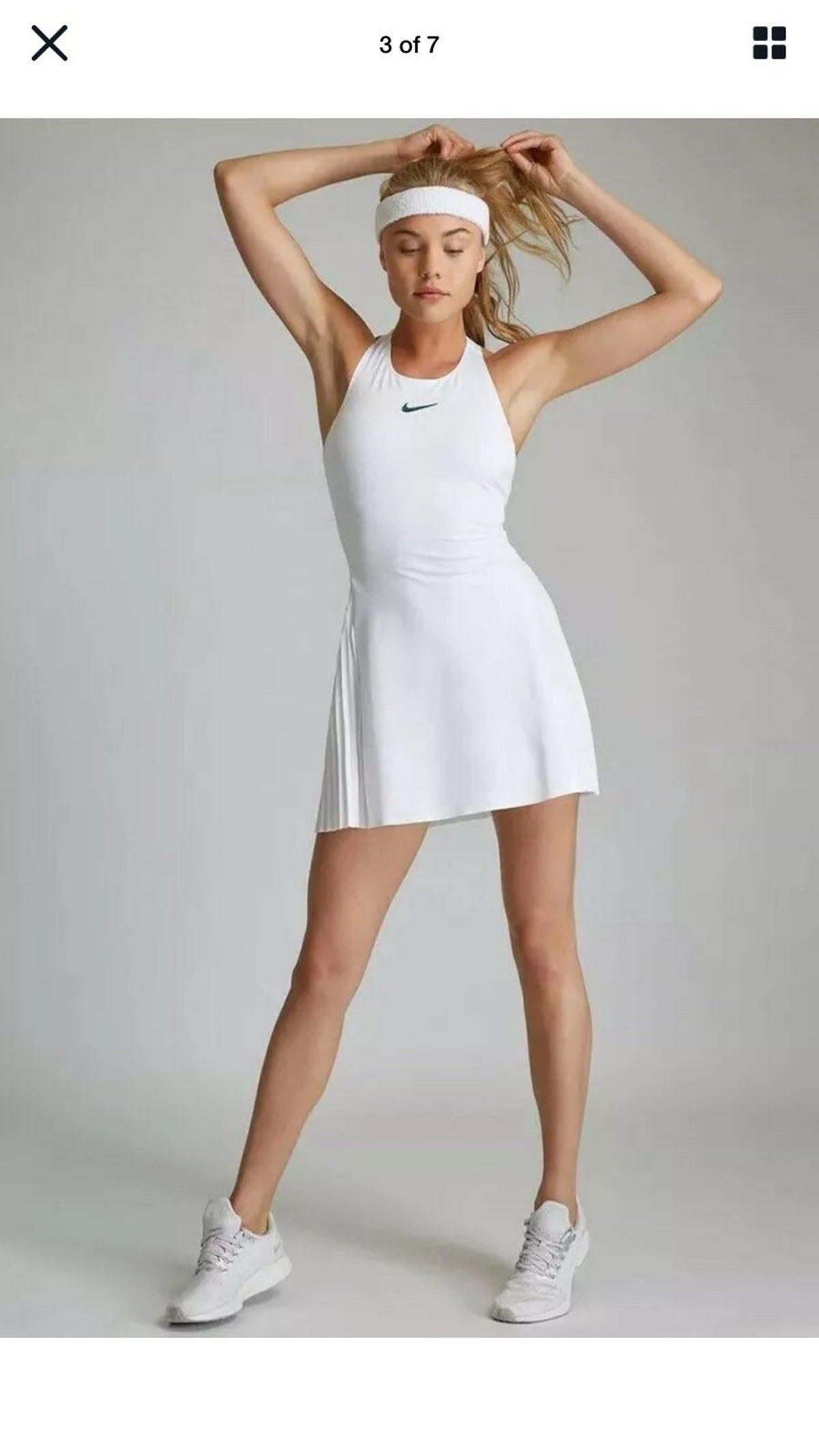 Nike Maria Sharapova Court Tennis Dress White Tennis Dress Tennis Dress Tennis Skirt Outfit [ 2133 x 1200 Pixel ]