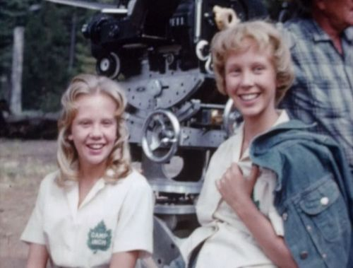 "Hayley Mills with her ""twin"" on the set of The Parent Trap, 1961. Still one of my absolute favorite movies of all time."