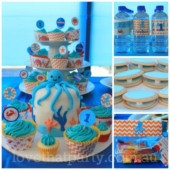 Ocean Under The Sea Birthday Party Ideas Photo 5 Of 29 Sea Birthday First Birthday Parties First Birthdays