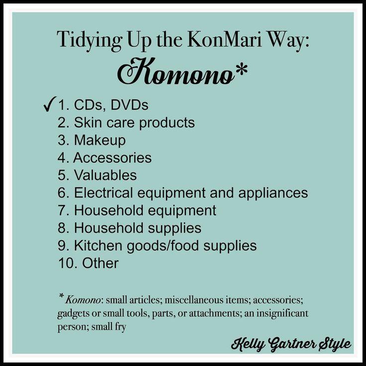 Tidying Up Komono List for Makeup Post   KonMari   How to