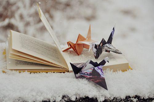 cranes in the snow