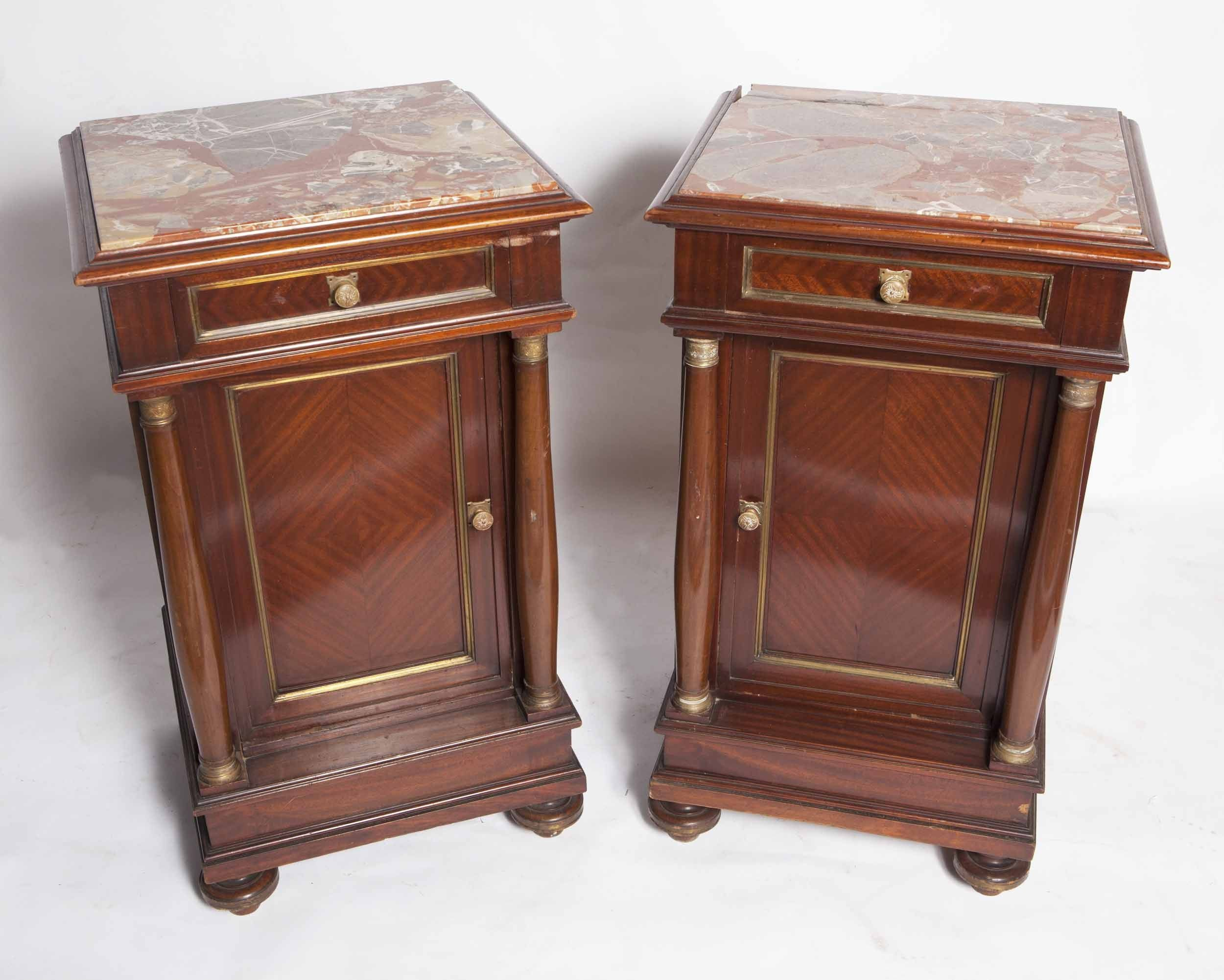 Antique square side table - Unusual Century French Second Empire Antique Bedside Table Furniture Design Ideas With White Marble Tops Over