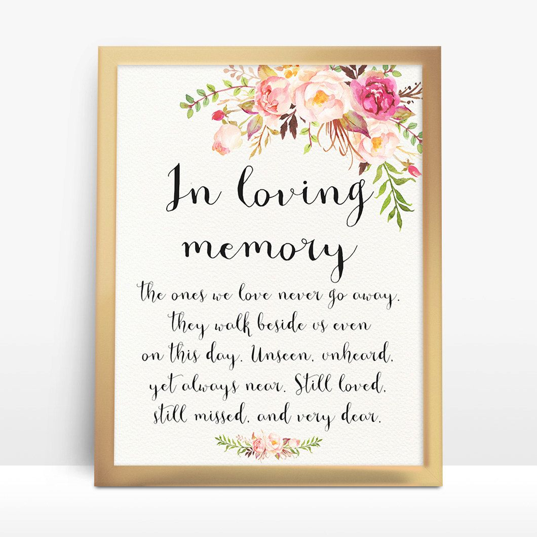 instant pink floral wedding sign in loving memory