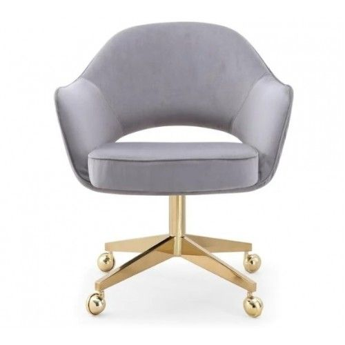 Grey Velvet Office Desk Chair Gold Frame Casters In 2020 Desk Chair Comfy Slipcovers For Chairs Grey Desk Chair