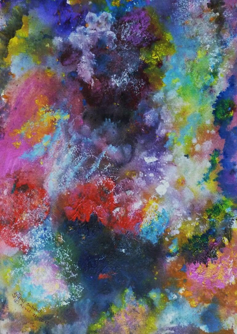 Original Abstract Painting by Subodh Maheshwari | Abstract Art on Paper | Flourishing