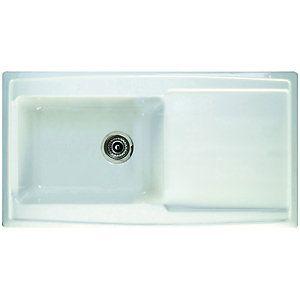 Wickes Ceramic Single Bowl Contemporary Sink White | London ...