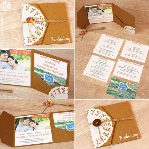 Schön Einladung, Hochzeitseinladung, Hochzeit, Karte, Kraftpapier, Vintage,  Rustikal, Spitze,