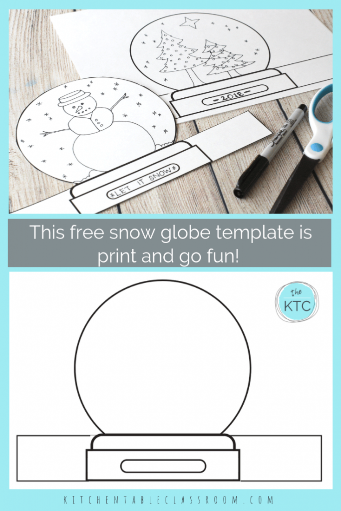 Make A Snowglobe Print Draw Stand Up Template The Kitchen Table Classroom Snow Globe Crafts Globe Crafts Snow Globes