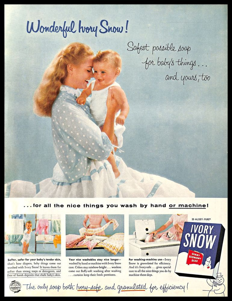 1956 Ivory Snow Detergent Vintage Print Ad Laundry Granulated Soap