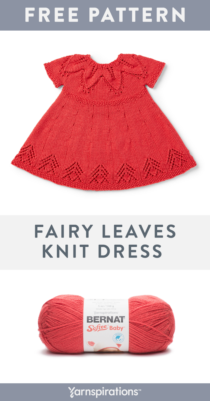 Bernat Softee Baby is a classic, light weight baby yarn, perfect for knit baby garments and accessories, such as the Fairy Leaves Dress ! Try out the pattern for free. #Yarnspirations #Bernat #BernatSofteeBaby #FreeKnittingPattern #KnitBabyDress