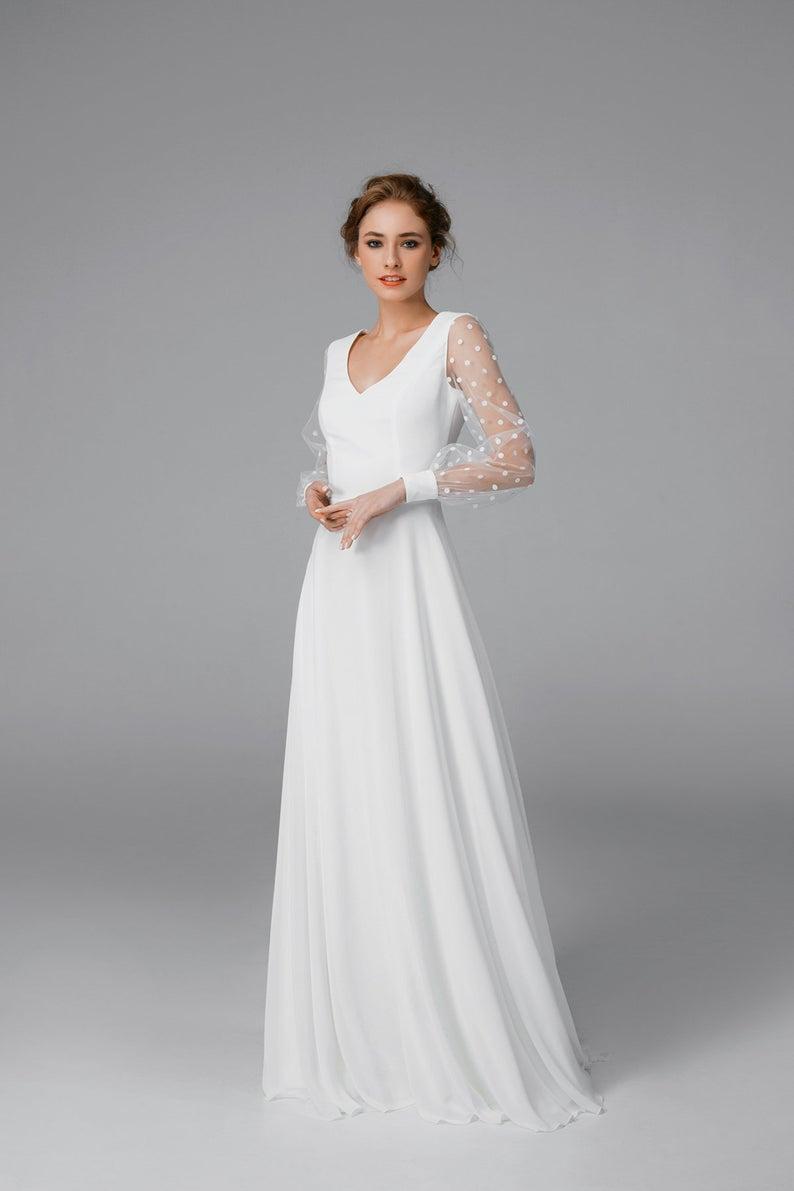 Simple Chiffon Wedding Dress Long Sleeve Satin Wedding Dress Etsy Long Sleeve Wedding Dress Simple Wedding Dress Long Sleeve Long Sleeve Satin Wedding Dress [ 1191 x 794 Pixel ]