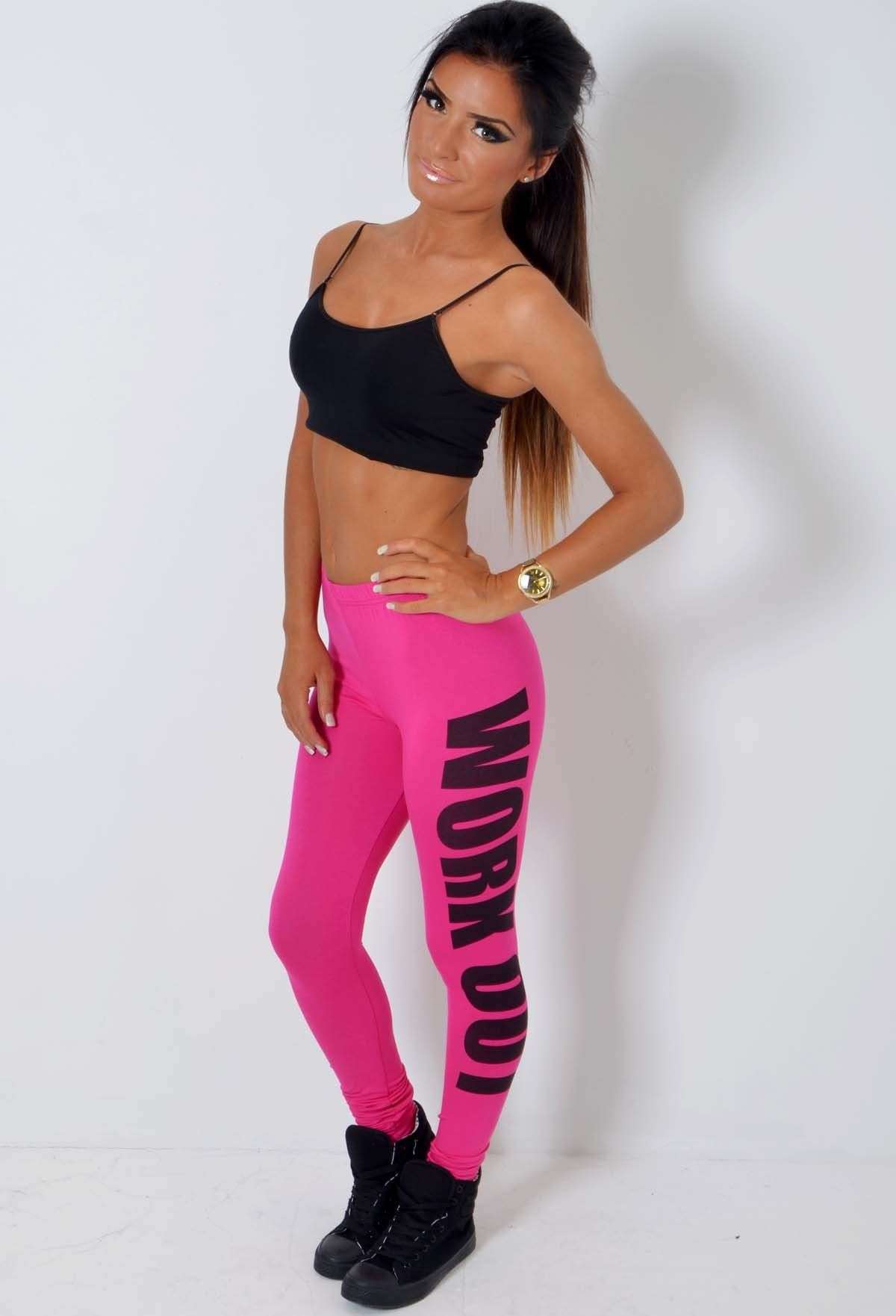 Pink Leggings Make You Look Sexy And Seductive : Pink And Black Gym Leggings