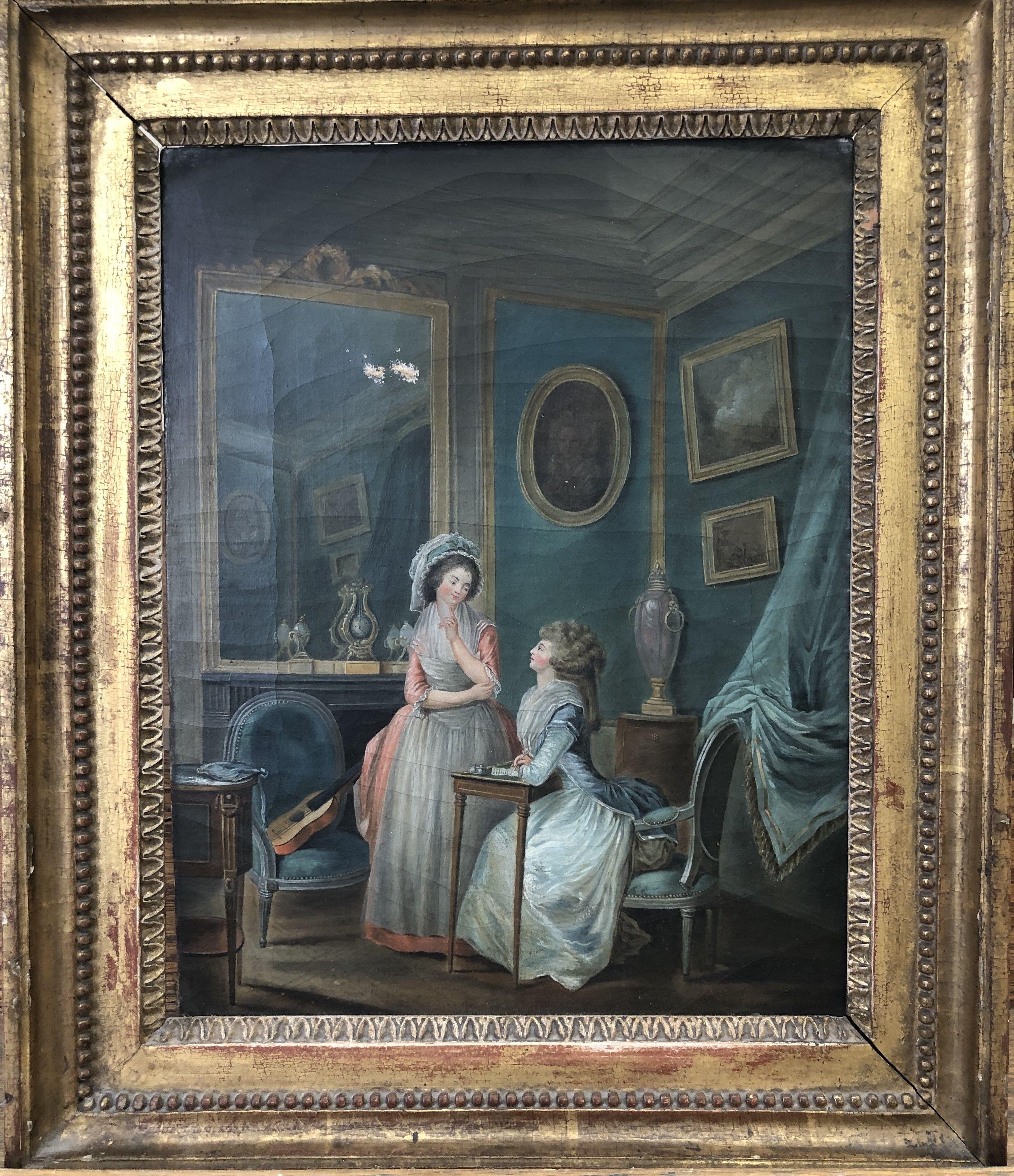 Ecole Francaise Fin Xviiie Siecle Scene D Interieur Art Oil Painting Antiques