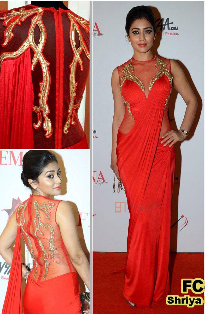 Shriya Saran Red Replica Gown From Skysarees | Bollywood Replica ...