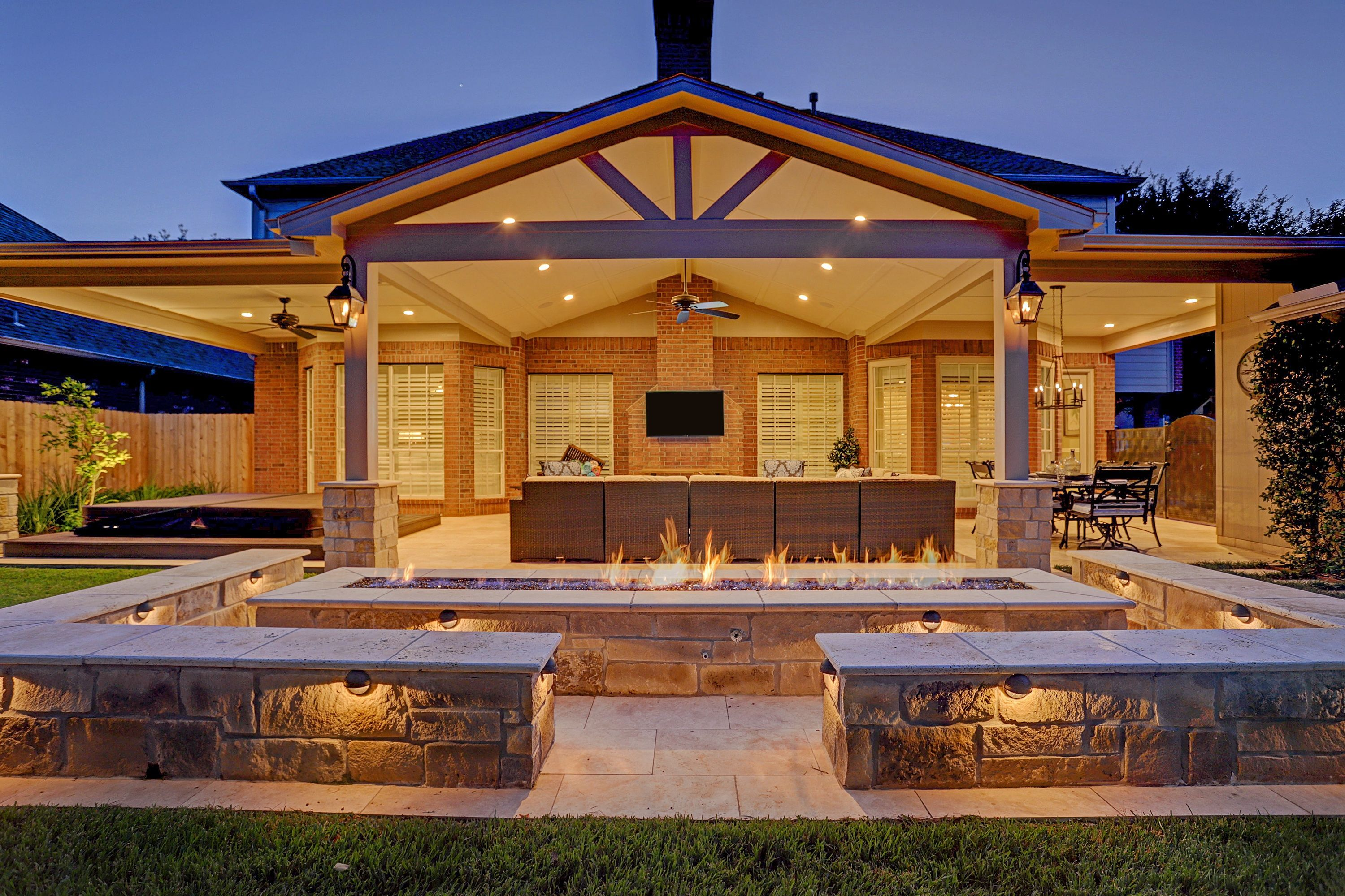 Gable Truss Firepit Outdoor Living Sitting Wall Outdoor Fireplace Patio Cover Attached Patio Cover Pergola Covered Backyard Covered Patio