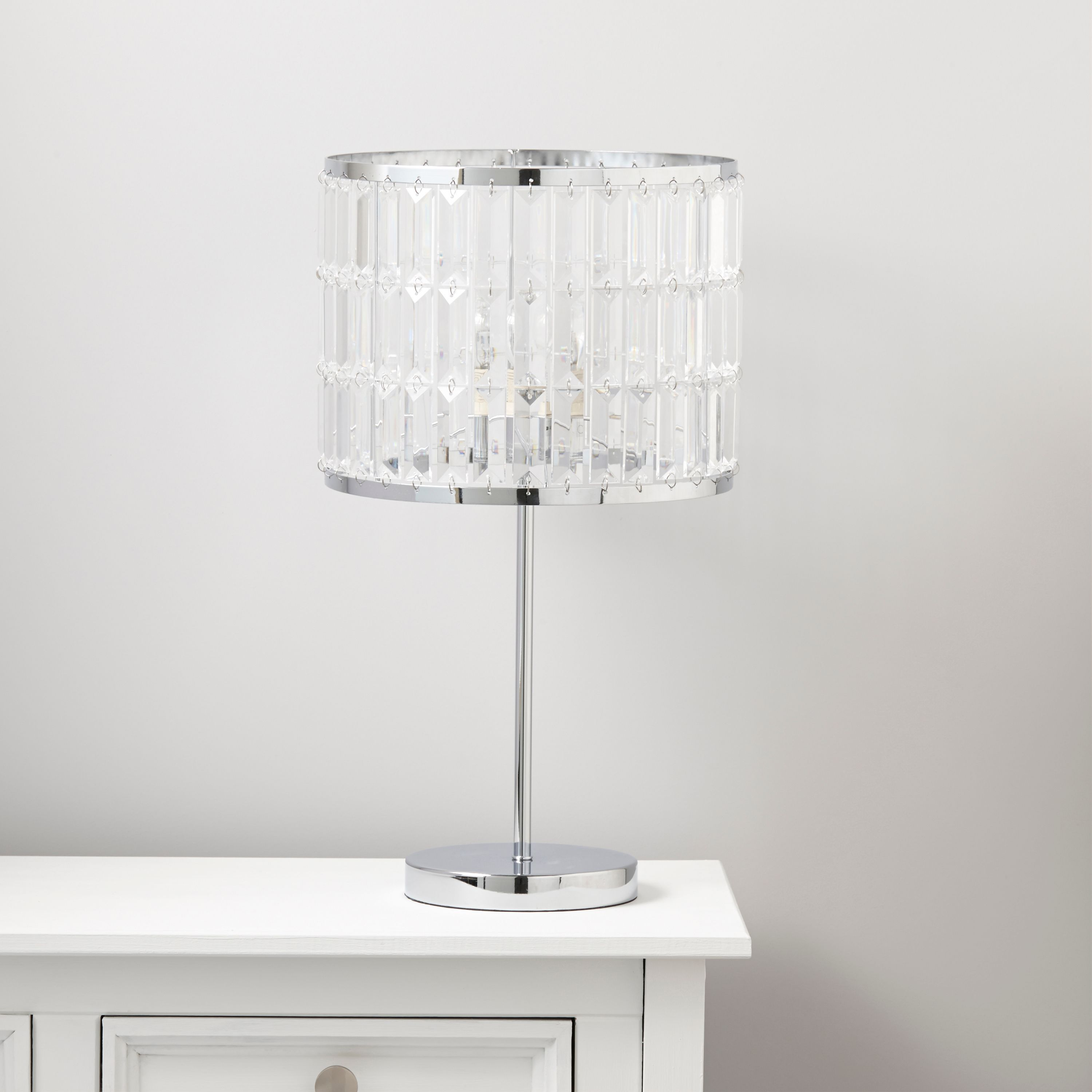 Dione Chrome Effect Table Lamp Departments Diy At B Q