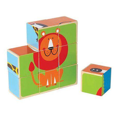 Hape E0421 Happy Puzzle - Zoo Animals Block Puzzle Toy Multi-Colored, Multicolor