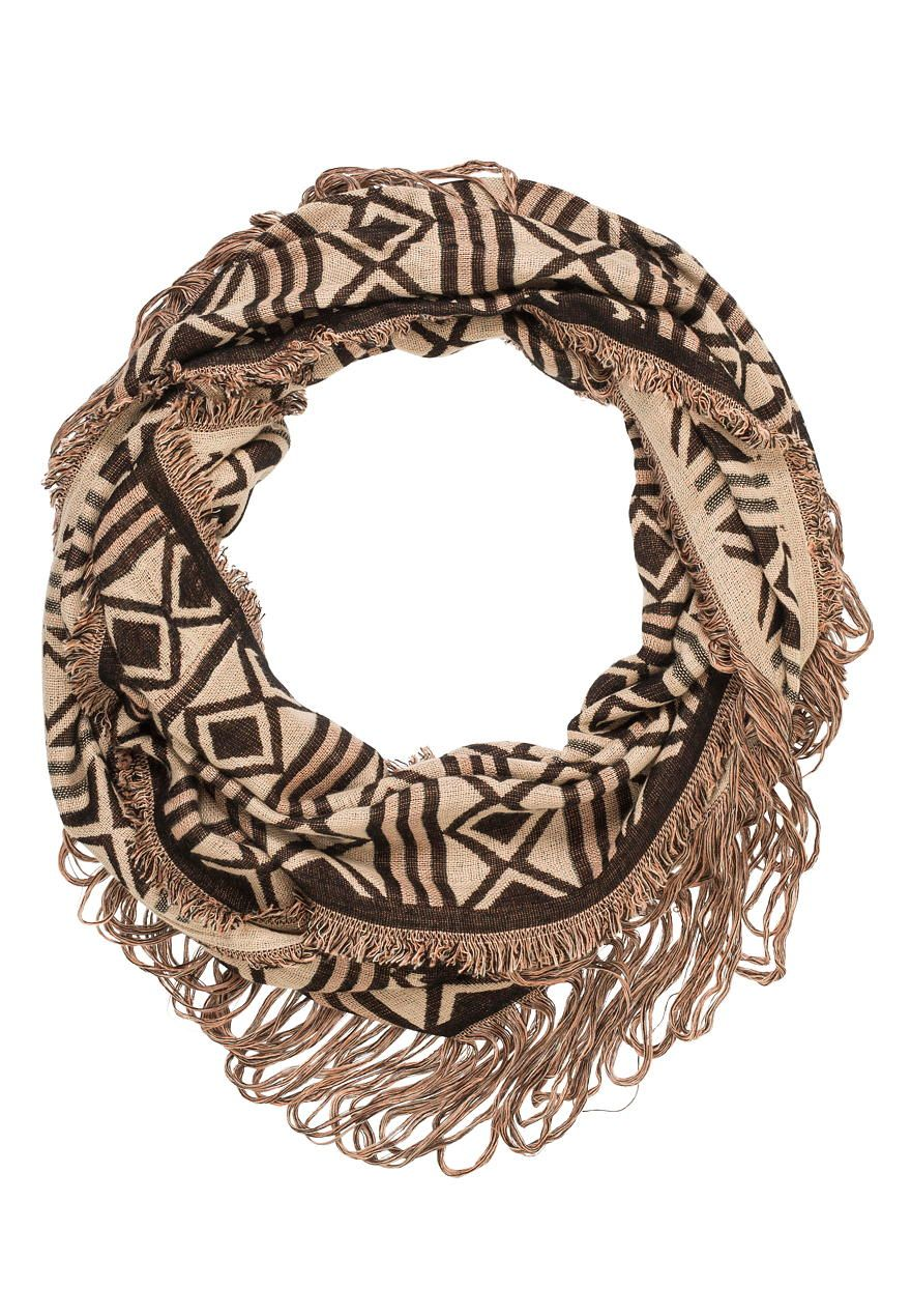 ragged infinity scarf in ethnic print