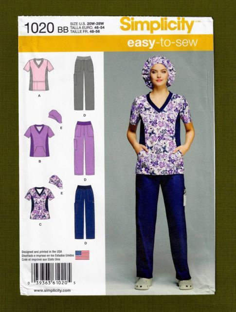 Simplicity Sewing Pattern 1020 Womens Scrubs Uniform Hat Sizes 20w ...