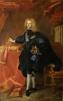 EL SIGLO DE LAS LUCES. FELIPE DE BORBÓN, duque de Anjou, luego FELIPE V DE ESPAÑA. A la muerte de Carlos II de España, nombrado sucesor por éste antes de su muerte, es coronado Rey de España, desatándose una guerra civil, pero finalmente permanece en el trono. Siendo nieto de Luis XIV, su llegada al trono abre a Francia el comercio en América, que antes había estado restringido a los galos, que también hacen acuerdos con Inglaterra.
