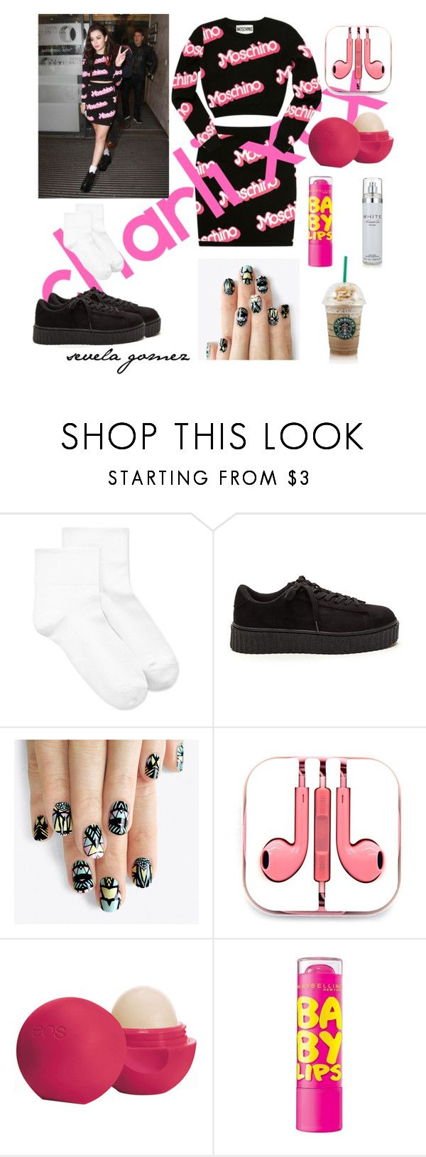 """Charli XCX"" by sequiagomez ❤ liked on Polyvore featuring Charli, Moschino, Hue, alfa.K, PhunkeeTree, Eos and Kenneth Cole"