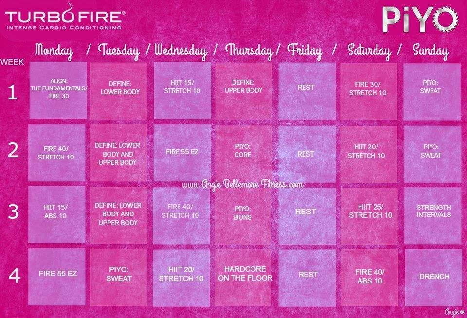 Turbo Fire And Piyo Workout Hybrid Schedule Etc Pinterest