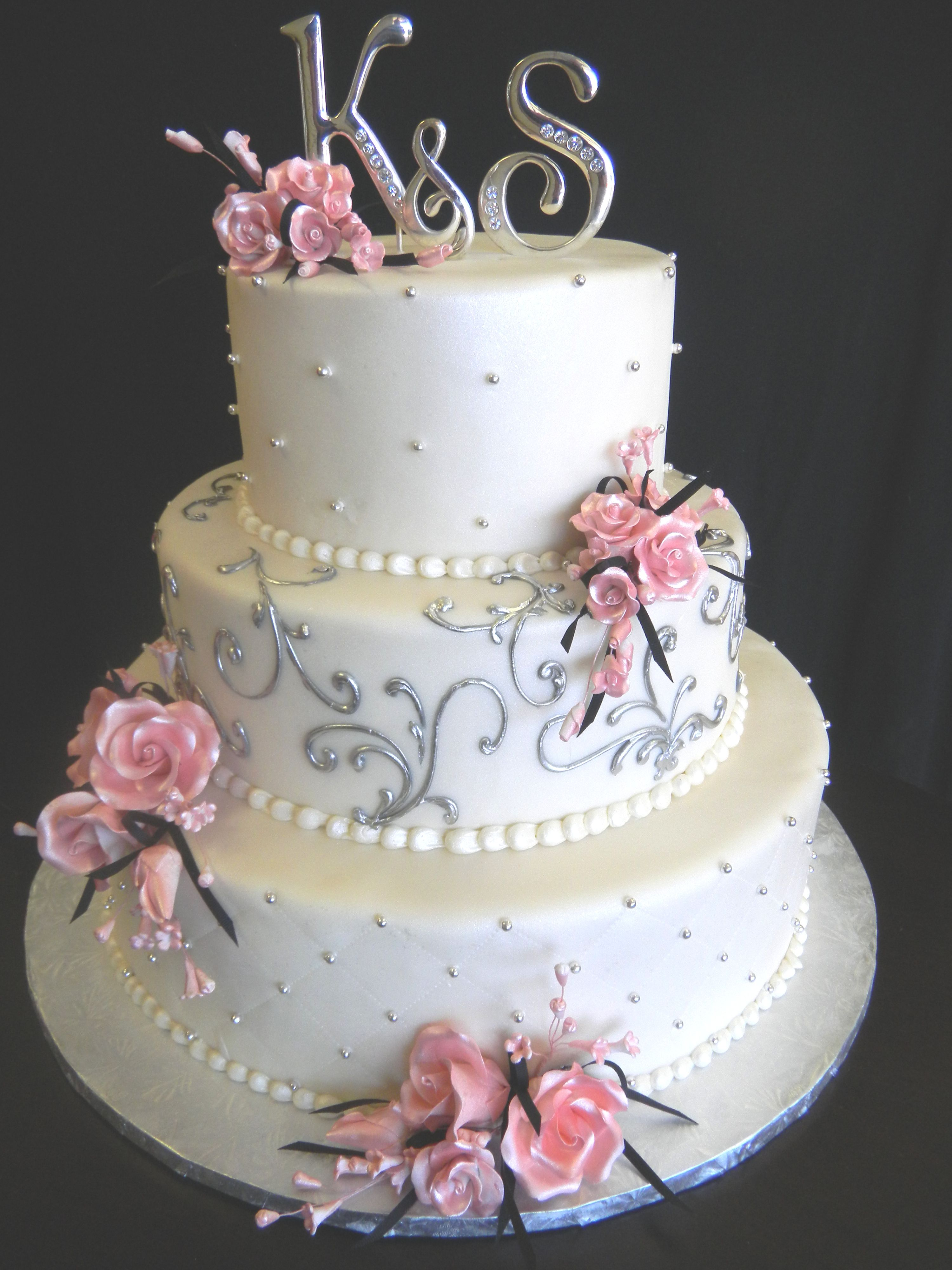 Pink And Silver Square Wedding Cakes