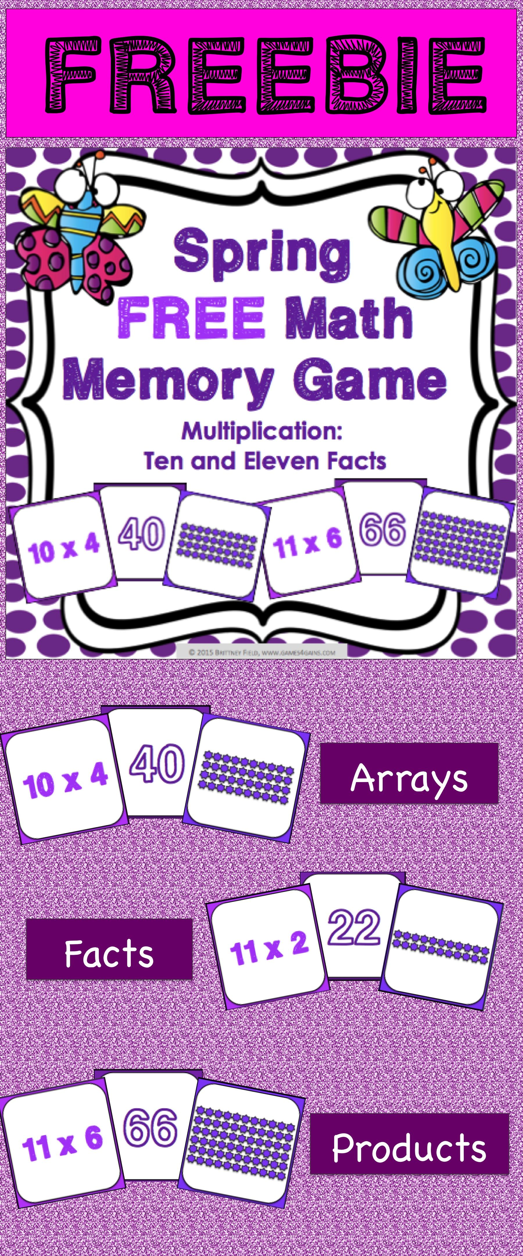 Free Spring Activity Multiplication Facts Memory Game