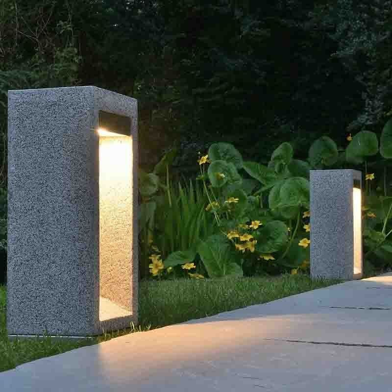 Arcus 42 Stone Bollard Light Granite Let There Be