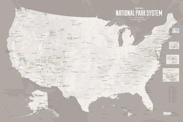418 National Park System Units Map 24x36 Poster | National and State ...