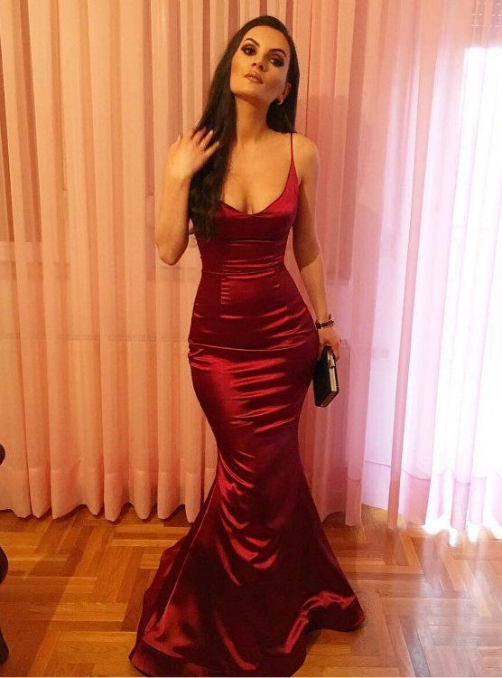 Hot Sale Simple Red Satin Mermaid Long Evening Dress Sexy Prom Gowns 2017 0bb3659cd473