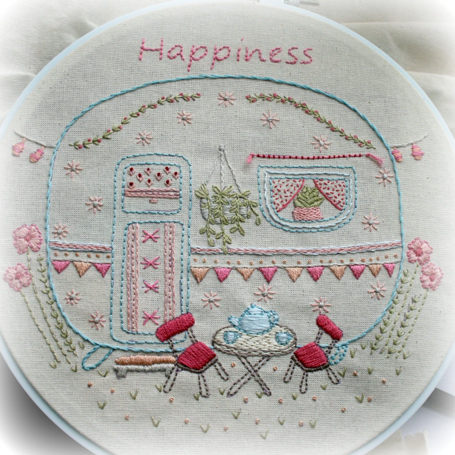 This pretty little caravan embroidery pattern has been created so