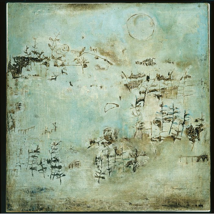 """Zao Wou-Ki - Sans titre, Vert émeraude (Untitled, Green Emerald).  Elizabeth Upper explains, """"Rather than discussing the representational aspect of nature in Zao's work, it may be more accurate to discuss """"Nature,"""" the abstract concept, rather than """"nature,"""" the natural world."""""""