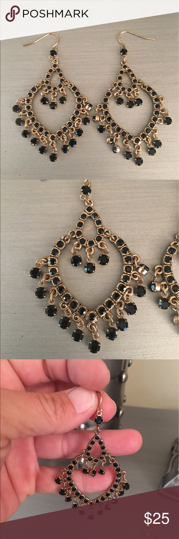 🛍 Black Gold Jeweled Chandelier Earrings Gold tone Boutique ...