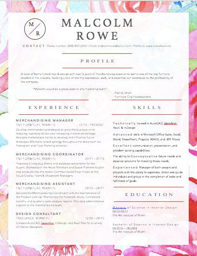 Modern Resume  Cover Letter TemplatePink Peony  Products