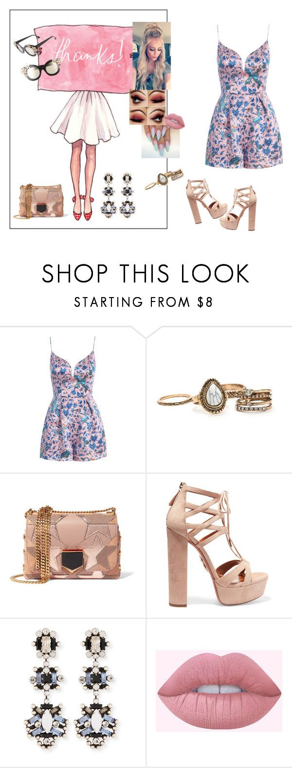 """Be The One #DuaLipa"" by diane-ds ❤ liked on Polyvore featuring Zimmermann, Jimmy Choo, Aquazzura, DANNIJO, Lime Crime and Alice + Olivia"