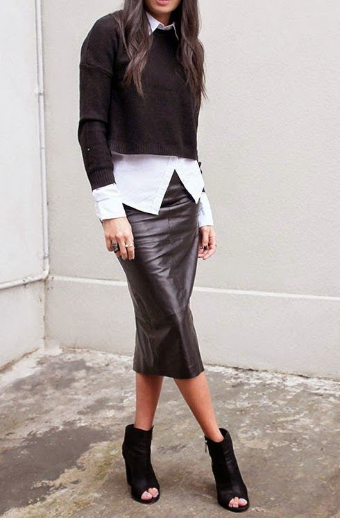 a9bdcf867f black leather skirt, white button-down (not tucked in), black sweater,  black boots/heels