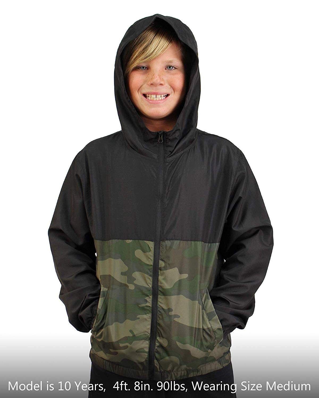 Boys Windbreaker Jacket Hooded Water Resistant Soft Shell ...