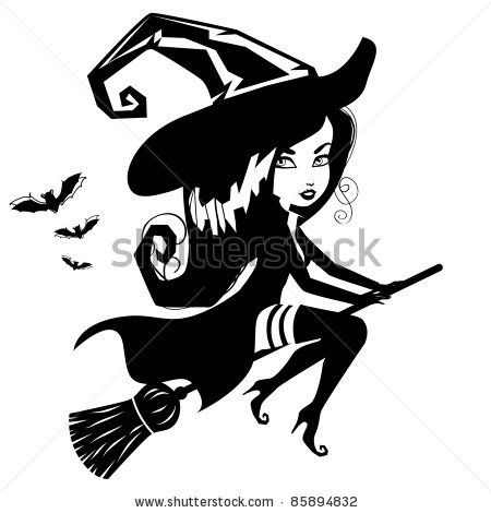 19+ Halloween witch black and white clipart info