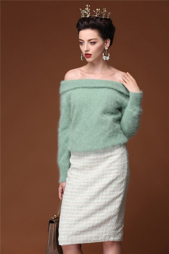 33c16c109e51 New Arrival    Mohair Off Shoulder Cashmere Spring Sweater Pale Moss Green  Fuzzy Fur Sweater Vintage Style 50s Woman Cashmere Pullover Fair