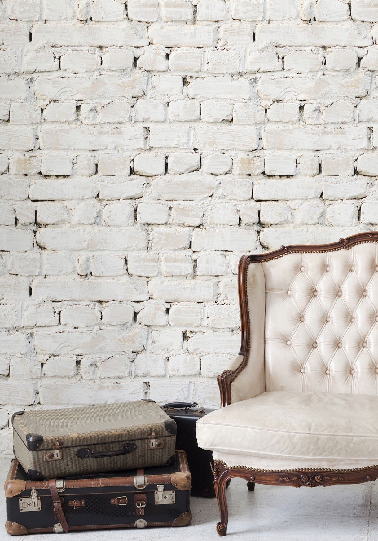 Whitewash Brick Wallpaper Insitu Gettin Cozy White Wash