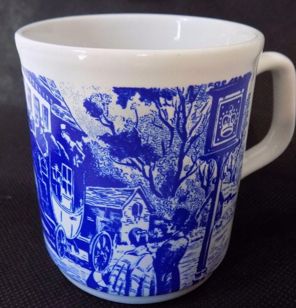 Table Tops Stafordshire England Dickens Ish Scene Coffee Tea Mug Cup Blue White Mugs Mug Cup Tea Mugs