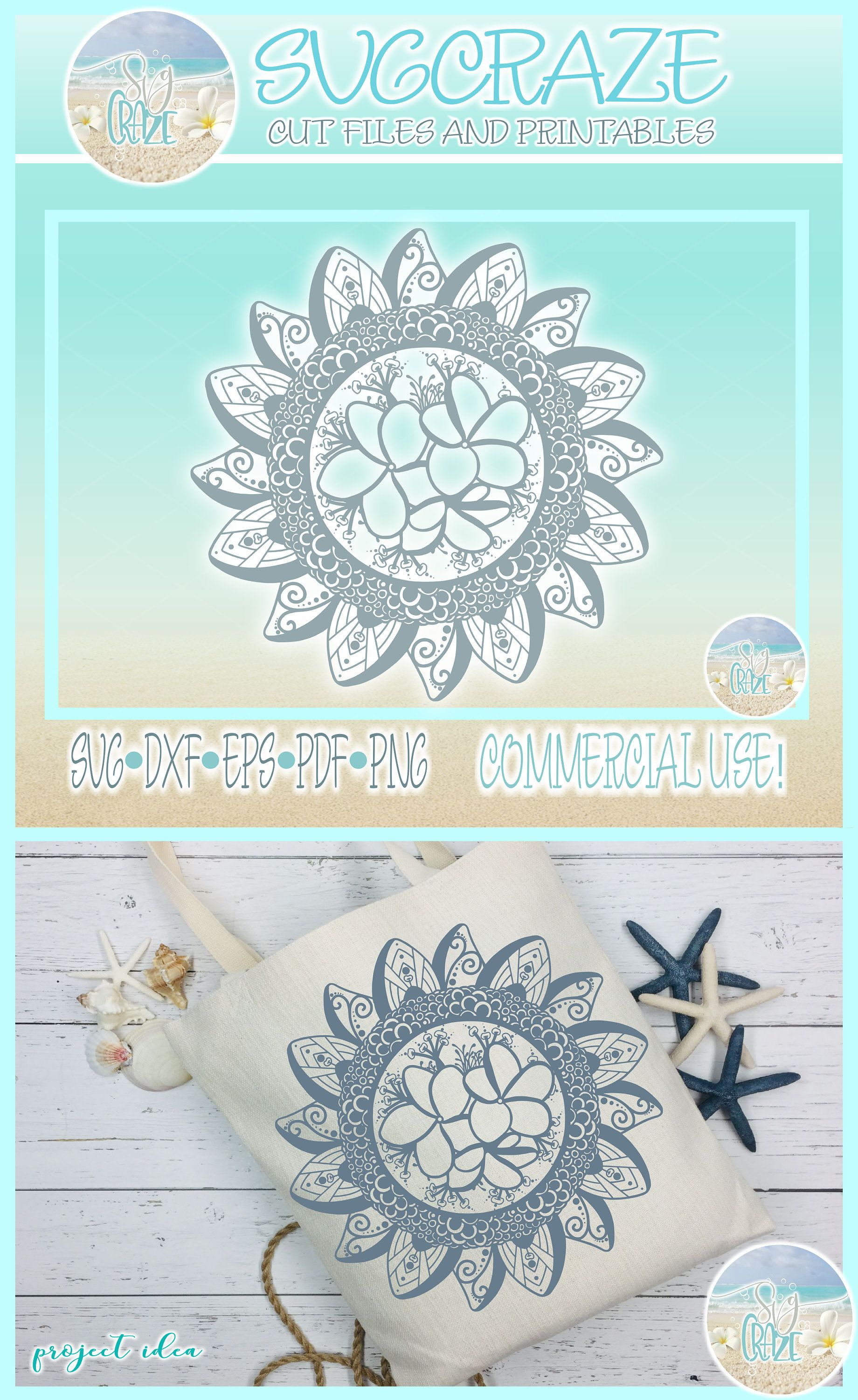 Dxf Eps Pdf Png Included Hand Drawn Mandala Zentangle SVG Files for Cricut Silhouette